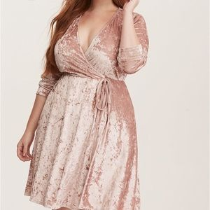 Torrid blush crushed velvet faux wrap dress